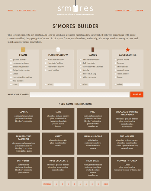 The S'mores Builder page is laid out entirely with flexbox, with some fallbacks for non-supporting browsers in certain places.
